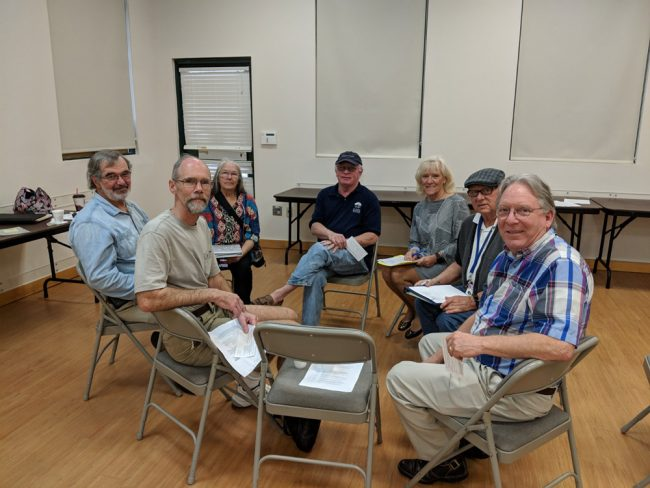 The reconstituted Friends Board of Directors with, from left, from left: Carl Laundrie, Dan Malueg, Peggy Mattlingly, Mark Bridenstein, Ann Bridenstein, Ron Pokigo and Keith Mattingly. (Friends of the Library)