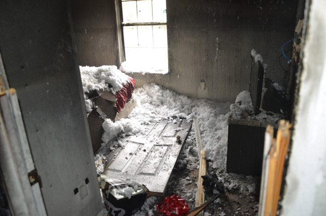 The front bedroom, where the hoverboard was left. (© FlaglerLive)