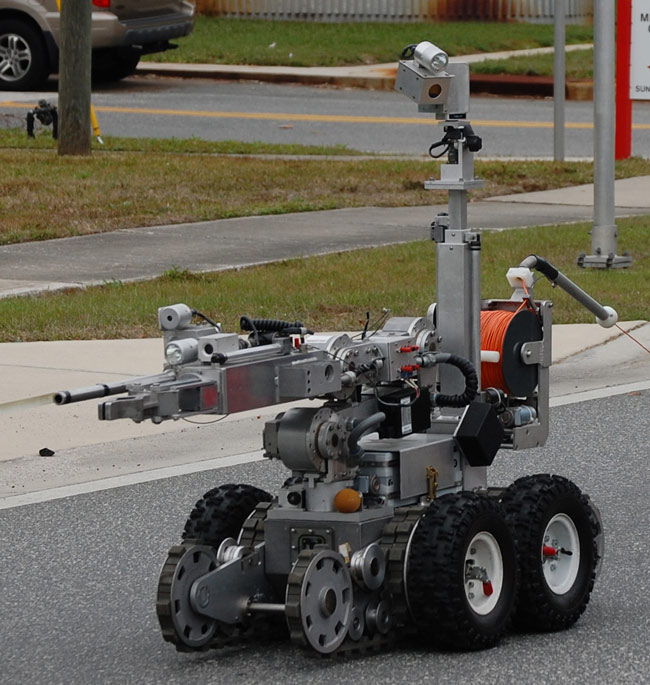 St. Johns County Sheriff's bomb squad's 'Frosty,' a bomb-handling robot, is routinely called into action at scenes of bomb scares.  (© FlaglerLive)