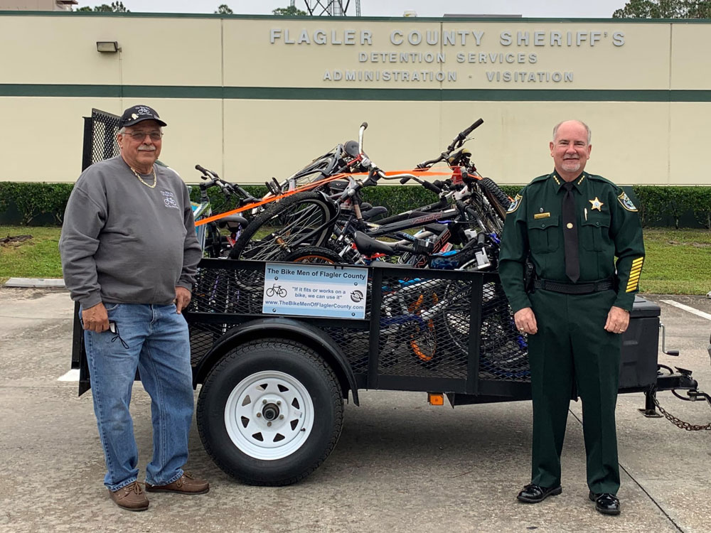 Joe Golan, Founder of the Bike Men of Flagler County, with Sheriff Staly. (FCSO)
