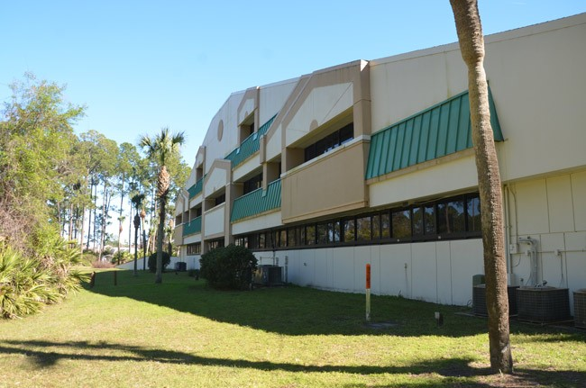 What's it worth? ITT's former headquarters turned school board property on Corporate Drive has been turning into an albatross on the district's neck. The board voted to bid it out at a minimum of $2.3 million. (© FlaglerLive)