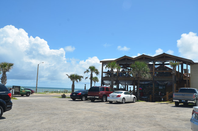 Fuego Del Mar restaurant in Flagler Beach got a conditional permit for outdoor entertainment in the building itself, but not for the parking lot in the foreground. (c FlaglerLive)