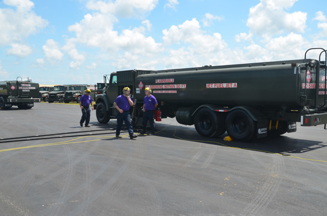 Kimble's Aviation Logistical Services (KALS) fuel trucks at the Flagler County airport, readying for deployment ahead of Hurricane Dorian. (© FlaglerLive)