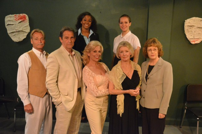 The full cast of Tennessee Williams's 'Suddenly Last Summer': front row, from left, Bruce Scott (as George Holly), Peter Gutierrez (Dr. Sugar), Annie Gaybis (CatharineHolly), Ann Kraft (Mrs. Venable), Bobbi Fouts (Mrs. Holly), and back row, from left, Phillipa Rose (Miss Foxhill) and Leana Gardella (Sister Felicity). Click on the image for larger view. (© FlaglerLive)