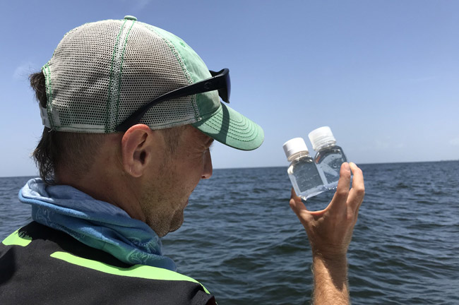 FWC's harmful algal bloom research group during last year's red tide event response, monitoring Gulf waters 30 miles offshore in southwest Florida. (FWC)