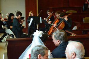 The Flagler Youth Orchestra's octet filled the courtroom with music. (© FlaglerLive)