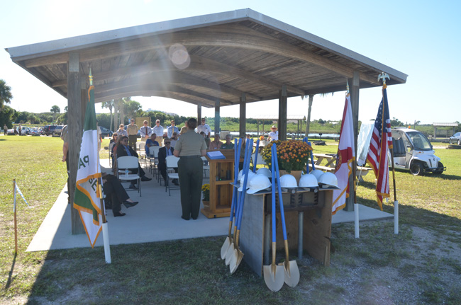State and county officials were there, but only one Flagler Beach City Commissioner and one city staffer showed up at the Thursday groundbreaking of a project that will mostly benefit Flagler Beach's economy. (© FlaglerLive)
