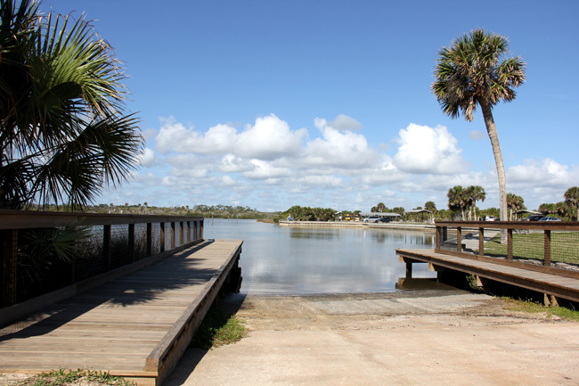 The boat ramp at Gamble Rogers State Park. (© FlaglerLive)
