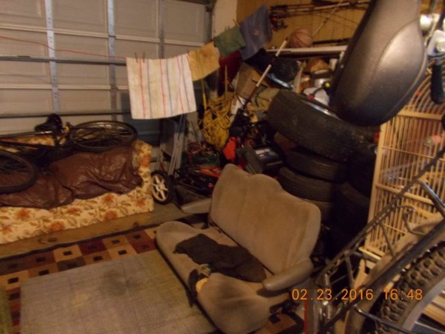 The garage where the dogs were kept, and where one of them is still kept, according to inspectors. (FCSO)