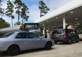 The Shell station at Boulder Rock Drive and Palm Coast Parkway, where a resupply tanker had trouble maneuvering out of the station after making a delivery. Gas stations have experienced brief interruptions in service, but no lasting shortages so far in Palm Coast. Click on the image for larger view. (© FlaglerLive)