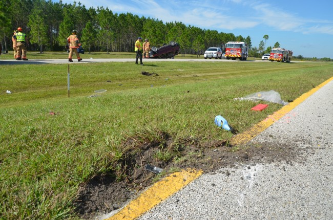 The initial gash in the median. Picture facing north, from northbound lanes. (c FlaglerLive)