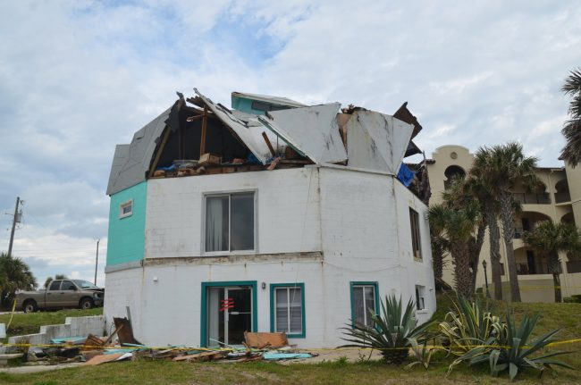 The owner says a 'microburst' took out the dome, but a weather specialist at Flagler County Emergency Management says no severe weather was reported in the area at the time of the incident. Click on the image for larger view. (© FlaglerLive)