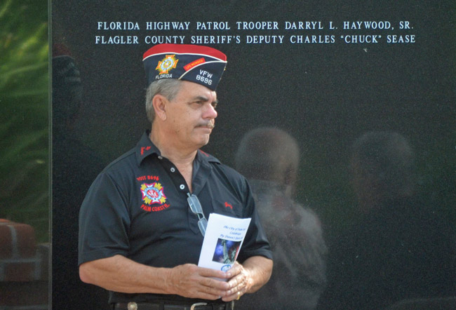 George Hanns at a July 4 commemoration in Palm Coast three years ago. (© FlaglerLive)