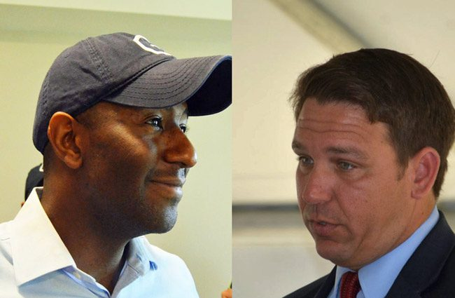 Andrew Gillum likes what he sees. Ron DeSantis, not so much. (© FlaglerLive)