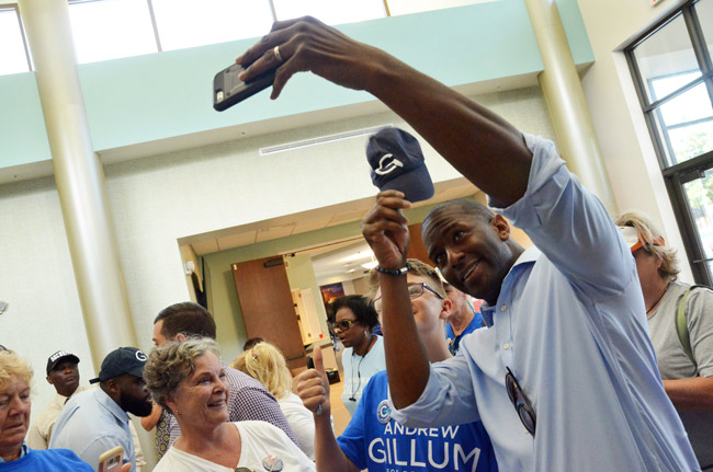 Andrew Gillum in Palm Coast last month. (© FlaglerLive)