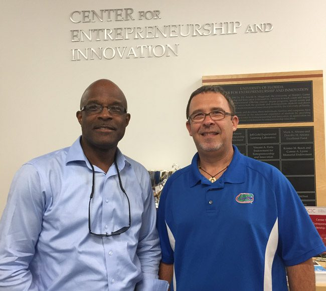 Leslie Giscombe, left, founder of Palm Coast's African American Entrepreneurs Club, welcomes Parker Van Hart, director of the University of Florida's entrepreneurship program, this evening in a workshop open to the public at the African American Cultural Society in Palm Coast. See details below.