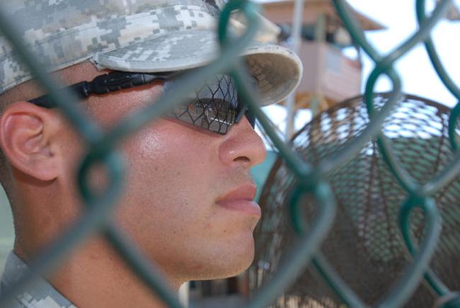 U.S. Army MP Spc. Kevin Tardi, guarding Gitmo. (Jim Wagner)