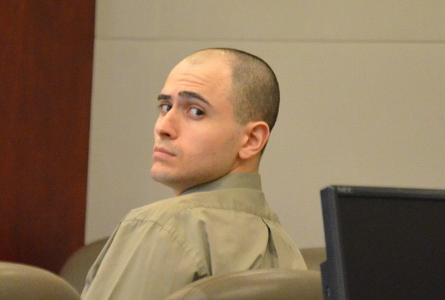 Giuseppe Verdone Jr. this morning as jury selection in his trial got under way. (© FlaglerLive)