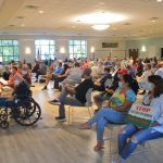 A hearing before the Planning Board on the proposed development for the disused Matanzas golf course drew some 70 people Wednesday evening at the Palm Coast Community Center, far fewer than the city had prepared for. (© FlaglerLive)
