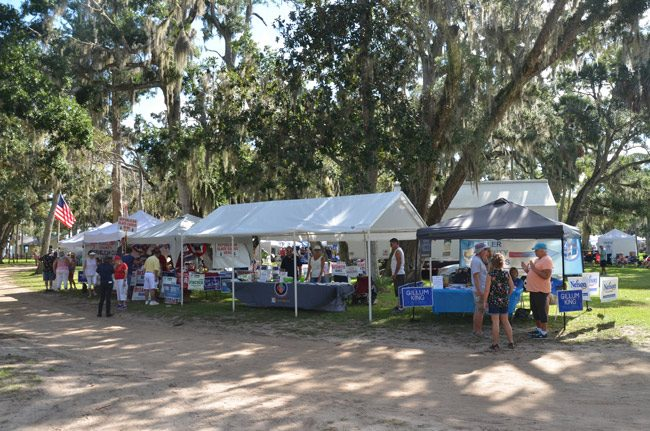 At last weekend's Creekside Festival, the Flagler Chamber of Commerce, which sponsored the event, positioned its both between that of the Flagler Democratic Party and the Flagler Republican Party. No scuffles were reported. (© FlaglerLive)