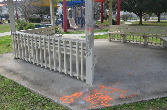 The graffiti at the gazebo. (© FlaglerLive)