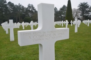 A gravestone at the normandy cemetery at Colleville-Sur-Mer, above Omaha Beach. Click on the image for larger view. (c FlaglerLive)