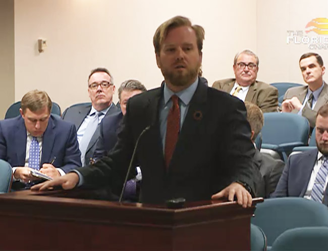 Hillsborough County Republican Rep. J.W. Grant speaking for his vacation-rental bill today before a subcommittee. (Florida Channel)