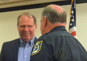 County Commissioner Greg Hansen, left, with Sheriff Rick Staly. (© FlaglerLive)