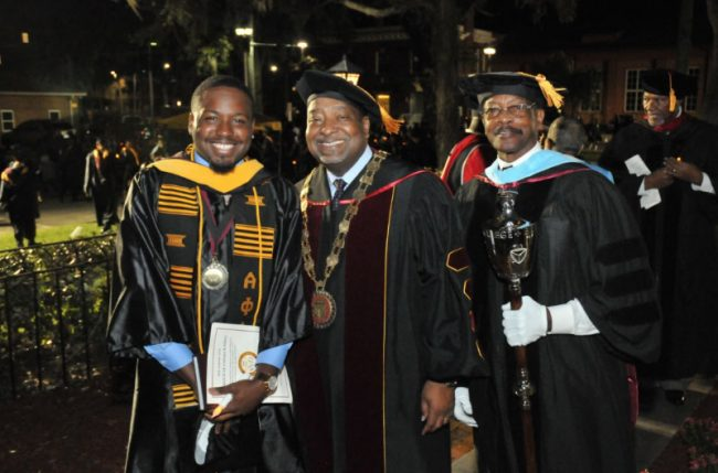 From left, Student Body President Derenzo Thomas, Interim President Hubert Grimes, and College of Education Professor Dr. Walter Fordham. (BCU)