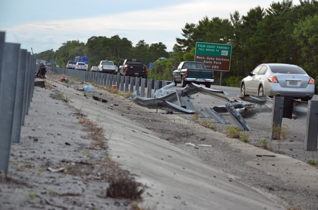 The smashed guardrail. Click on the image for larger view. (© FlaglerLive)