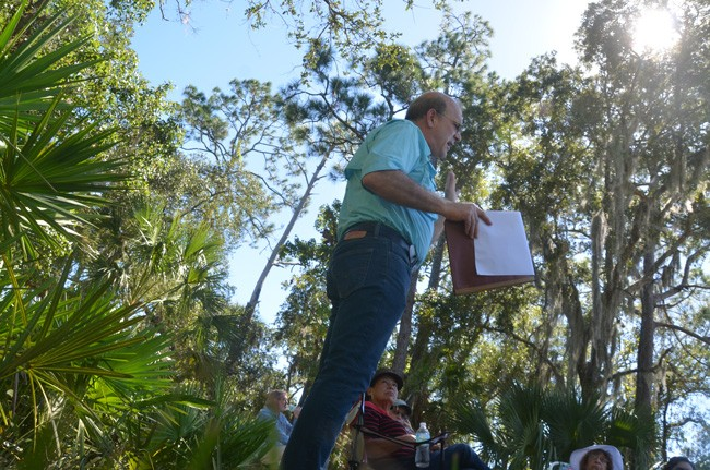 Al Hadeed, who has all the qualities of a historian when he's not the county attorney, outlines the significance of Long Creek Preserve as an ecological and historical gem with significance that affected state and national history. Hadeed spoke to a gathering of the Flagler County Historical Society at the preserve on Oct. 15. (c FlaglerLive)