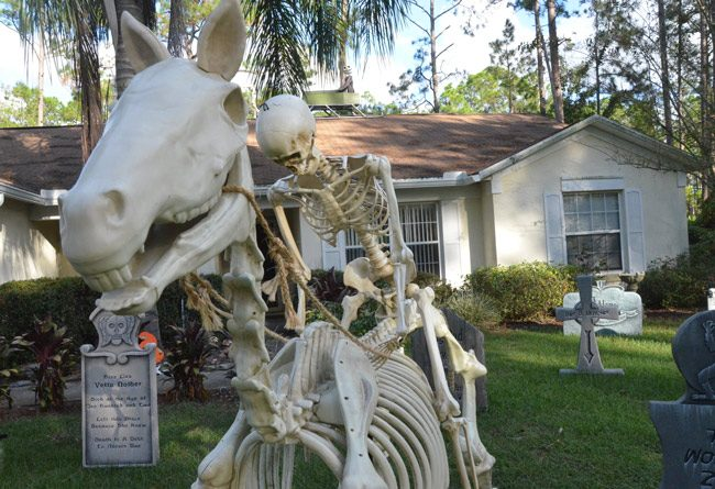 Happy Halloween: the property at 9 Reidsville Drive has long been among the most elaborately fright-worthy for trick or treaters. (© FlaglerLive)