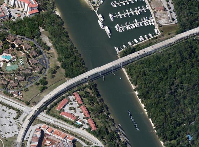 The Hammock Dunes Bridge rises 65 feet above the Intracoastal Waterway in Palm Coast.