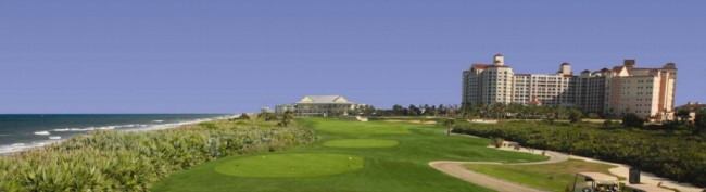 View of current lodge from the 18th hole. Click on the image for larger view.