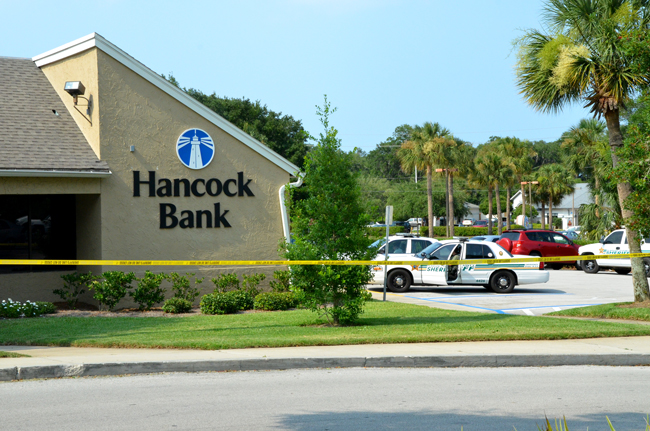 Hancock bank in the Palm Harbor Shopping Center this afternoon. (© FlaglerLive)