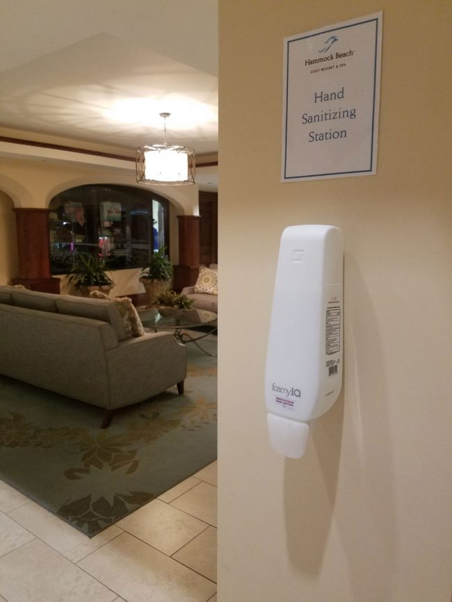 A hand-sanitizing station at the Hammock resort. (© FlaglerLive)