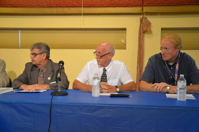 Dennis McDonald, right, during a 2012 election panel, with then-Commissioner George Hanns, left, and Charlie Ericksen, who was a candidate at the time. Ericksen would also be the subject of a frivolous ethics complaint, as was Hanns, but the action against Ericksen wasn't filed by McDonald. (© FlaglerLive)