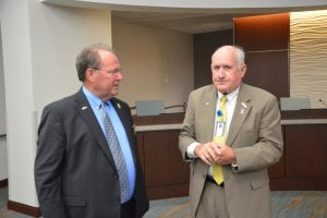 Flagler Commissioners Greg Hansen, left, and Dave Sullivan. (© FlaglerLive)