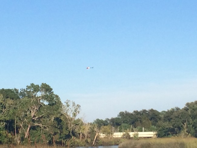 Fire Flight, over the area of the wreckage. Click on the image for larger view. (c FlaglerLive)