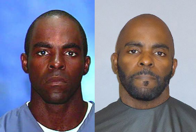 Henry Holmes Jr. in his Florida Department of Corrections days a decade ago (left) and his current picture from the Flagler County jail.