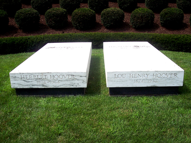 It's no Hooverville: Herbert Hoover's grave alongside his wife's, in West Branch, Iowa. (Steve Cornelius)