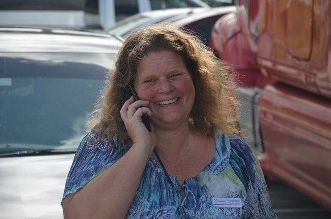 An unsung hero of the last two weeks: Suzy Gamblain of Flagler County Volunteer Services, who mobilized an army of volunteers during the Hurricane Matthew emergency. (© FlaglerLive)
