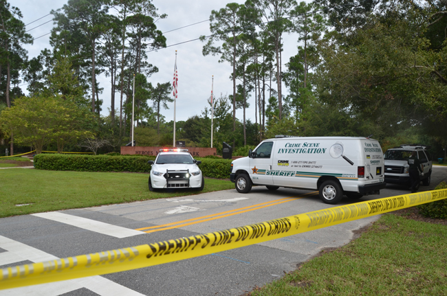 Heroes Park in Palm Coast was the site of a suicide this morning  involving a former Flagler County Sheriff's deputy. (c FlaglerLive)