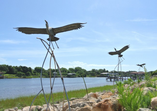 The flight of Life sculptures newly installed at Palm Coast's Waterfront Park. Click on the image for larger view. (© FlaglerLive)
