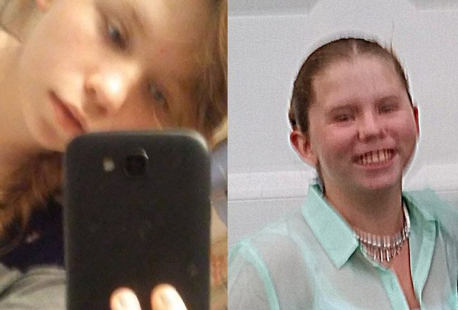 Elizabeth Higgins, who also goes by Rhiannon Higgins (her middle name is Rheanne), in a picture from one of her Facebook pages, left, and in an image provided by the family to the sheriff's office.
