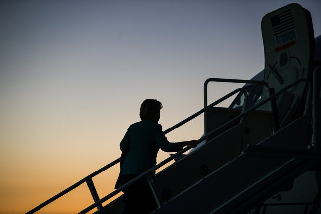 She's not the Democrats' only frequent flier toward sunset. (Hillary for America)