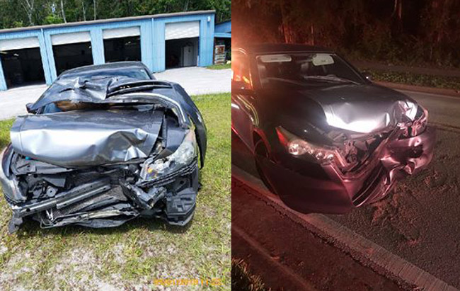 Tiffany A. Fugit's Honda Accord was unrecognizable after a head-on, hit-and-run crash on Palm Harbor Parkway.