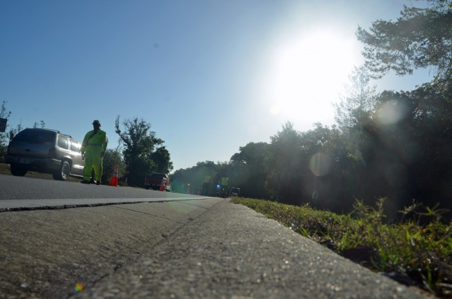 The sun faced eastbound drivers on Parkway at the time of the crash. Click on the image for larger view. (© FlaglerLive)