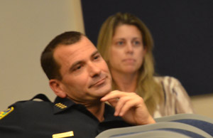 Police Chief Jeff Hoffman and Cynthia Bertha at the meeting when then-City Clerk Dan Davis publicized their relationship. (© FlaglerLive)