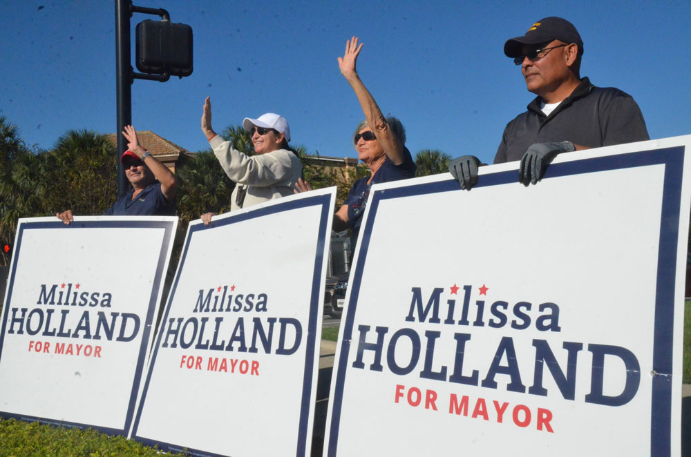 Palm Coast Mayor Milissa Holland held on. (© FlaglerLive)